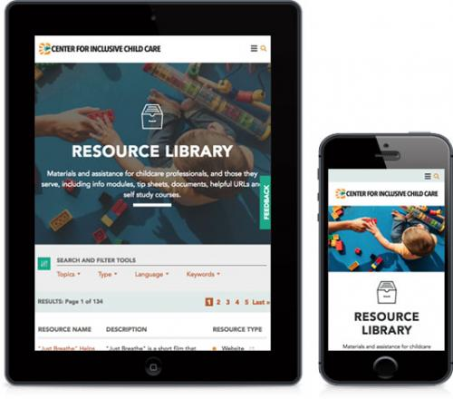 screenshot of Inclusive Childhood site on mobile and tablet