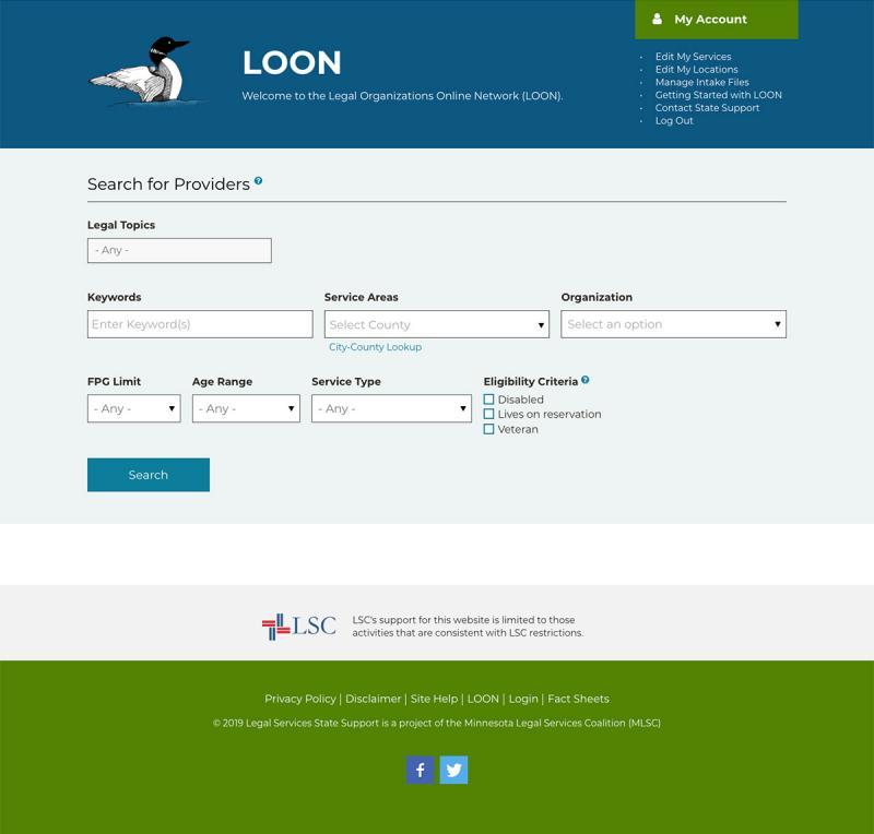 screenshot of legal provider portal