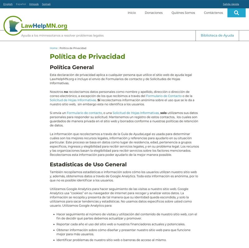 screenshot of a page on LawHelpMN translated into Spanish