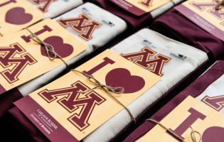 "Carlson and University of Minnesota branded gifts, with ""I (heart) M"" headline"